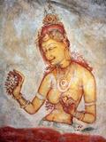 Mural Painting (6th Century), Sigiriya, Sri Lanka Fotografie-Druck von Ivan Vdovin