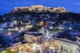 Greece, Athens of Monastiraki Square and Acropolis Fotografisk tryk af Walter Bibikow