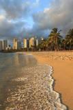 Usa, Hawaii, Oahu, Honolulu, Waikiki Beach and Skyline Photographic Print by Michele Falzone
