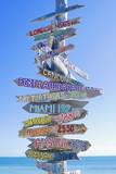 Directions Signpost Near Seaside, Key West, Florida, Usa Fotoprint van Marco Simoni