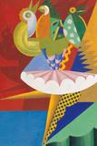 Rotation of Dancer and Parrots Reproduction procédé giclée par Fortunato Depero