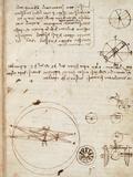 Page from the Codex Regarding the Flight of Birds ジクレープリント : レオナルド・ダ・ヴィンチ