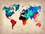 World Map in Watercolor Kunstdrucke
