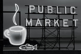 BW Public Market Sign I Photographic Print by Bob Stefko