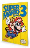 Super Mario Bros. 3 - NES Cover Wood Sign Targa di legno