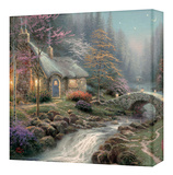 Twilight Cottage Custom Stretched Canvas Print by Thomas Kinkade