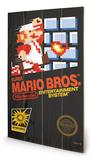 Super Mario Bros. - NES Cover Wood Sign Targa di legno