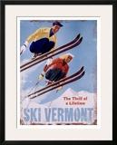 Esqui Vermont, a emoção de uma vida, em inglês Impressão giclée emoldurada