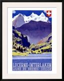 Swiss Alps Lucerne Travel Poster Impressão giclée emoldurada