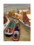 Narrow Boats Giclee Print by Margaret Loxton