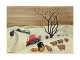 Taking Hay to the Sheep by Tractor Giclée-vedos tekijänä Margaret Loxton