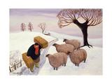 Carrying Hay to the Sheep in Winter Giclée-vedos tekijänä Margaret Loxton