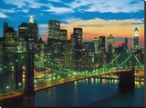 Downtown, Manhattan Stretched Canvas Print by Michel Setboun
