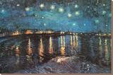 Starry Night over the Rhone, c.1888 Trykk på strukket lerret av Vincent van Gogh