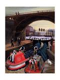 Regent's Canal Lock Giclée-tryk af Margaret Loxton