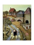French Street Farm Giclée-tryk af Margaret Loxton