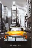 Gele taxi in New York tegen zwart-wit achtergrond, met tekst: NY Taxi no 1 Kunst op gespannen canvas