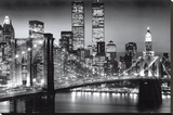 New York Manhattan Black - Berenholtz Stretched Canvas Print by Richard Berenhotlz
