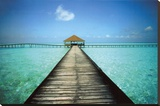 Jetty Maldives Stretched Canvas Print by Massimo Borchi