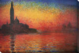 Dusk in Venice Stretched Canvas Print by Claude Monet