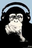 Headphone Chimp - Blue Posters por  Steez