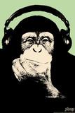 Headphone Chimp - Green Cartel de plástico por  Steez