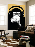 Headphone Chimp - Gold Wall Mural by  Steez