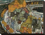 Crescent of Houses II (Island Town), 1915 Stretched Canvas Print by Egon Schiele