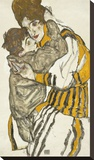 Schiele's Wife With Her Little Nephew, 1915 Stretched Canvas Print by Egon Schiele