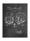 Football Helmet With Chinstrap Patent Plakater
