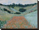 Poppy Field in a Hollow Near Giverny, 1885 Trykk på strukket lerret av Claude Monet