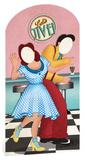 1950's Lets Jive Stand In Silhouettes découpées en carton