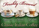 Freshly Brewed Italian Coffee Blikkskilt