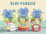 Blue Pansies Tin Sign