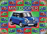 Mini Cooper - Blue - mini background Plaque en métal