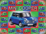 Mini Cooper - Blue - mini background Plåtskylt