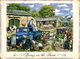 British Farmers - Blue Flat Wagon Blechschild von Kevin Walsh