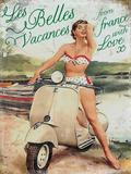 Vespa Les Belles Tin Sign