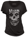 Women's: Misfits - Distressed Skull (dolman) T-シャツ