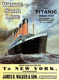 White Star Line Titanic - to New York Blikkskilt