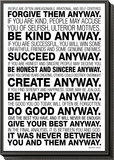Mother Teresa Anyway Quote Poster Framed Print Mount
