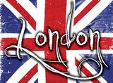 London on Union Jack Blechschild