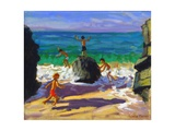 Climbing Rocks, Porthmeor Beach, St Ives, 2013 Giclee Print by Andrew Macara