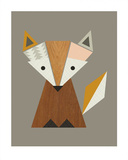 Geometric Fox Prints by  Little Design Haus