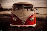 VW Red Combi Kunstdruck