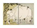 Elephant Giclée-tryk af Katsushika Hokusai