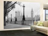 London Themse im Nebel Wandgemälde Fototapete Wandgemälde