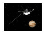 Voyager Spacecraft Near Jupiter and its Unrecognized Ring Poster