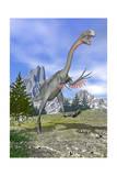 Gigantoraptor Dinosaur Running in the Mountains Láminas
