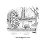 """I'm working from home."" - New Yorker Cartoon Premium Giclée-tryk af Benjamin Schwartz"